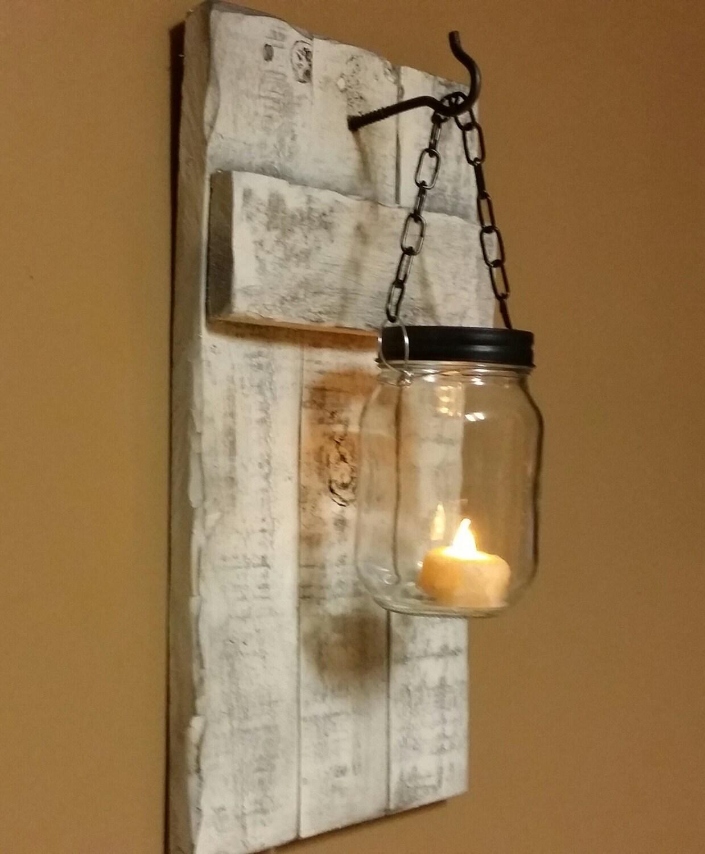 Rustic Industrial Modern Handmade Mason Jar Chandelier Rustic: Rustic Distressed Candle Holder Rustic Home Decor