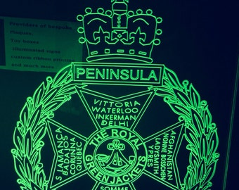 The royal green jackets freestanding light up sign illuminated plaque