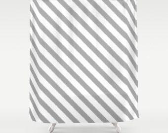 Shower Curtain - Gray Shower Curtain - Gray Stripes - Dorm Shower Curtain - Glamour Decor - Bathroom Shower Curtain - Teen Room Decor - Grey