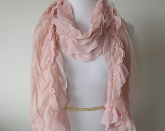 Chiffon Scarf with ruffles  & golden print roses pattern Light Pink Color
