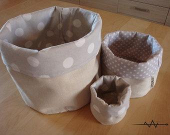 linen storage bin, fabric basket, organizer, fabric bucket grey polka dots