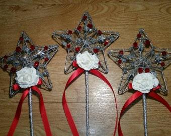 Flower Girl Wand, sparkle star, any colour