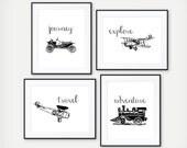 Explore the World - Transportation Prints - Kids Room Decor - Playroom Decor - Train, Air Plane, Classic Car - Nursery Print - Set of 4