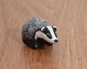 European badger animal totem, polymer clay OOAK animal figurine, talisman
