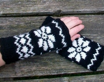 Hand knitted fingerless  gloves, Arm Warmers.