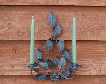 Leafy Metal Candle Sconce, Vintage Wall Sconce, Outdoor Sconce