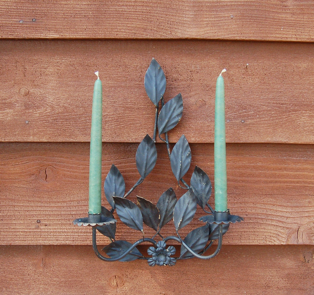 Candle Wall Sconces For Garden : Leafy Metal Candle Sconce Vintage Wall Sconce Outdoor Sconce