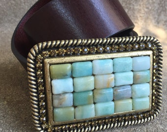 Deco-Luxe Amazonite & Swarovski Crystal Designer Belt Buckle