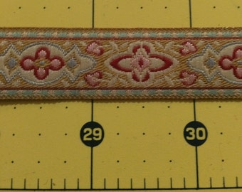 "Beautiful woven ribbon trim - blue, gold, cream and red - 3/4"" wide - 2 yards"