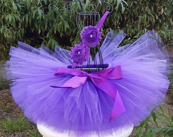 Purple Baby Tutu Set- Newborn Tutu and Headband- Purple Girl Tutu -