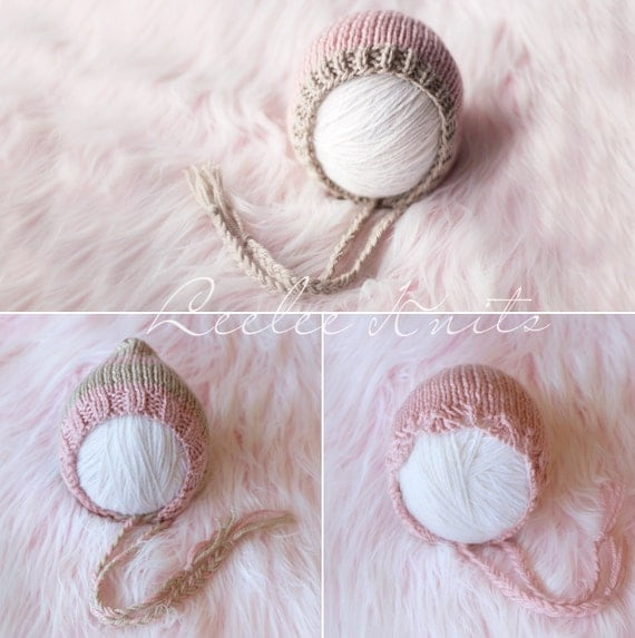 Pattern - Set of Three Newborn Knit Bonnet Patterns