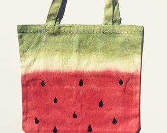 Hand dyed watermelon market tote (Large)