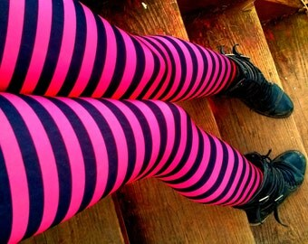 ragdoll pink and black stripe Leggings pants lycra
