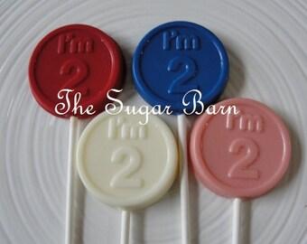 2nd BIRTHDAY CHOCOLATE Lollipop*12 Count*I'M 2 Lollipops*2 Year Old Party Favors*#2 Birthday Party Favors