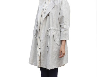Loose style linen trench coat