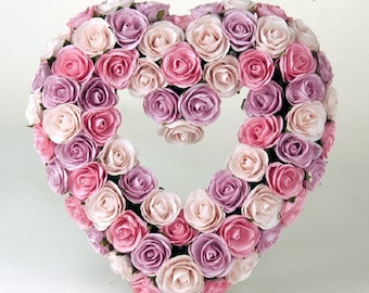 """Beautiful Colored Heart Shaped Rose Wreath Pink Wall Hanger Mulberry Paper 14.5"""" Diameter"""