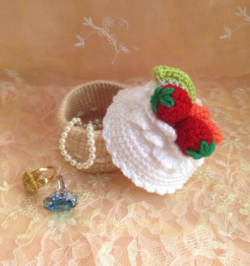 Crochet Cupcake Jewelry Box Storage Crochet Basket Amigurumi