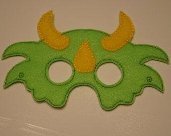 Horned Dinosaurfelt embroidered mask