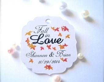 Fall in love favor tags, favor tags, wedding favor tags, fall wedding decor, custom tags, party favor tags, thank you tags - 30 count(tg25)