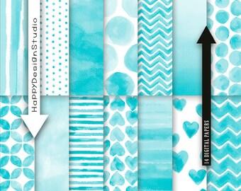 "Turquoise watercolor digital paper pack 12""x12"" commercial use instant download aqua blue dot stripe chevron classic ocean ombre blue images"