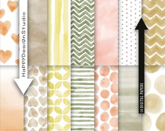 """Watercolor digital paper pack 12""""x12"""" commercial use instant download yellow mustard tan brown orange kraft craft earthtone patterns graphic"""