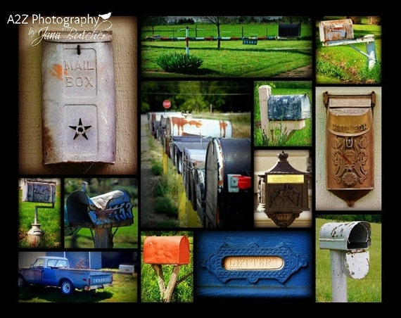 Mailbox collage fine art home decor wall art photo print for Fine home decorations