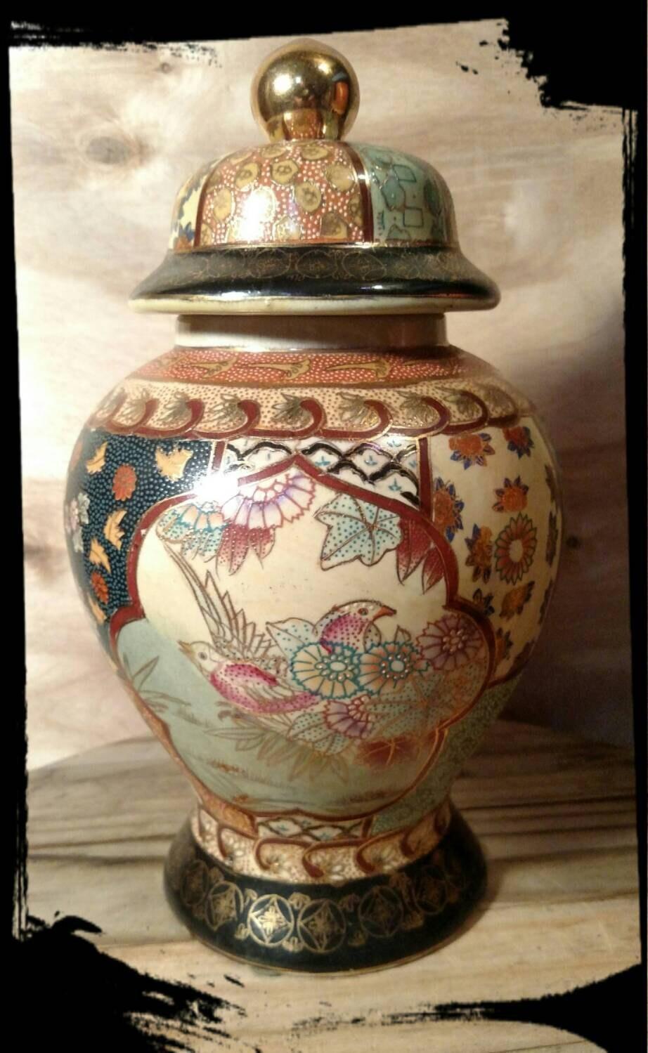 collectible kitchen porcelain ginger jar far east rice jar. Black Bedroom Furniture Sets. Home Design Ideas