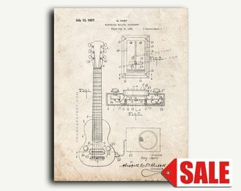 Patent Print - First Patent for an Electric Guitar Pickup Patent Wall Art Poster Print