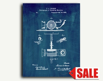 Patent Print - Thomas Edison Phonograph Patent Wall Art Poster