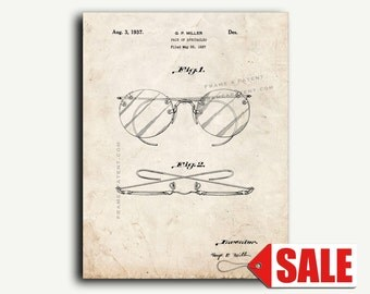 Patent Print - Design For A Pair Of Spectacles or Eyeglasses Patent Wall Art Poster Print