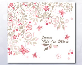 Instant Download Printable Joyeuse Fête des Mères card image and folded card PDF, download mother day, butterfly romantic soft pink flower