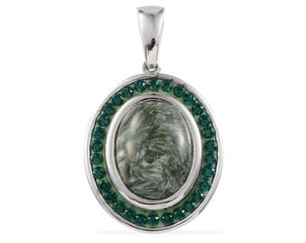 Siberian Seraphinite Oval and SWAROVSKI Emerald Crystal Pendant Without Chain TGW 13.80 cts.