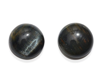 South African Blue Tigers Eye Loose Gemstones Set of 2 Cabochon Round 9mm TGW 3.95 cts.