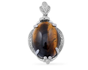 South African Tigers Eye Oval Pendant Silver-tone Without Chain TGW 14.75 cts.