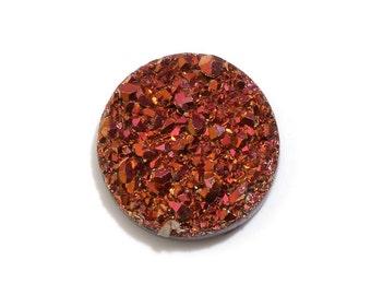 Rose Golden Drusy Quartz Round Cabochon Loose Gemstone 1A Quality 10mm TGW 1.85 cts.