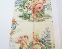 "Floral Upholstery Fabric Lee Jofa Fabric Bouquet Print beige Buff United Kingdom Linen Cotton Modal 25"" x 18"""