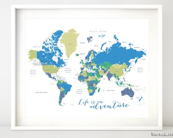 20x16 Printable World Map With Countries Us States Labeled Life Is An Adventure