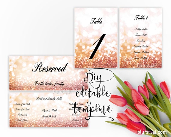 Printable Seating Chart TEMPLATE For Word Rose Gold Wedding Table - Wedding table numbers template