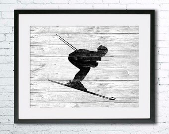 Ski art illustration print, Ski painting, Skiing art, black and white art, Wall art, Rustic Wood art, home decor, Ski print,Gifts for men