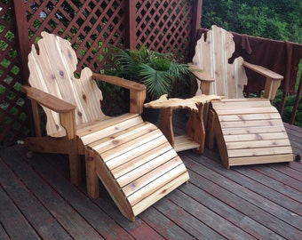 Deluxe Patio Set Michigan Adirondack Chairs, Ottomans, and Upper Peninsula Table
