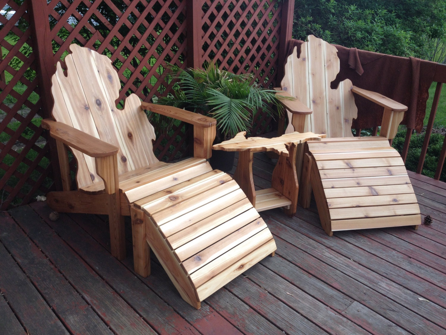 Deluxe Patio Set Michigan Adirondack Chairs Ottomans And
