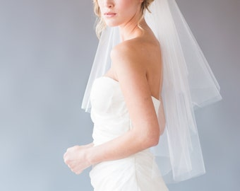 Two Tier Veil, Short Veil, Elbow Length Veil, Fingertip Veil, Wedding Veil, Bridal Veil, Cascade Veil, STYLE: MARIE