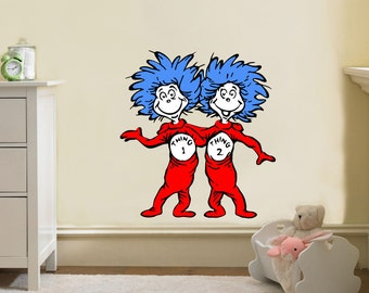 DR. Seuss Thing 1 Thing 2 Decal Removable WALL STICKER