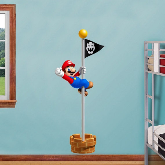 Super Mario Bros Flagpole Win Decal Removable Wall By