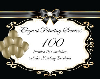 Printing Services - 100 Pearl Descent Printed Invitations with Envelopes