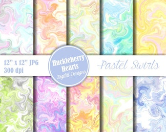 80% OFF SALE Swirl Paper, Digital Swirls, Marbelized Paper in Pastel Pinks, Blues, Greens,and Yellows