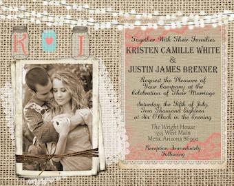 Burlap and Lace, Coral and Mint  Wedding Invitation, Invite, Mason Jar, Rustic, Photo Invitation, Digital File, Printable, 5x7