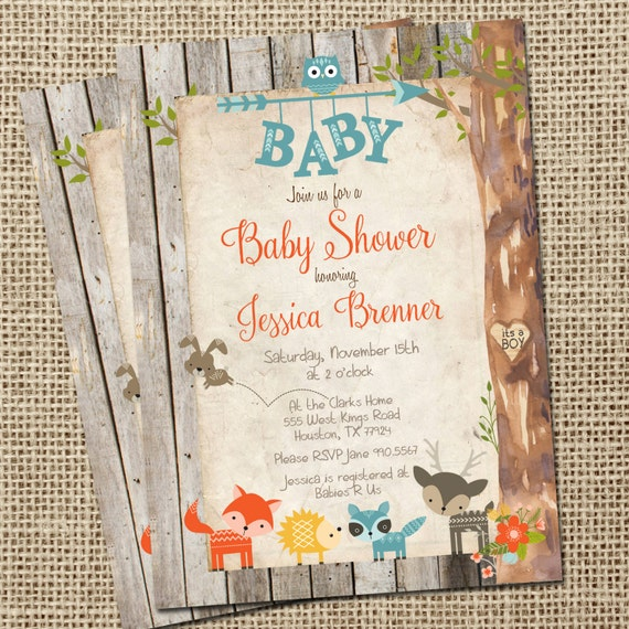 rustic baby shower invitation woodland animals baby shower invitation