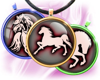 """Horses silhouettes 2 - Digital bottle cap images - 1'' circles, 25mm, 30mm, 1.25"""", 1.5"""" for Jewelry Making, BUY 2 GET 1 FREE"""