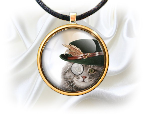 Cat In Top Hat And Monocle bottle cap images 1''